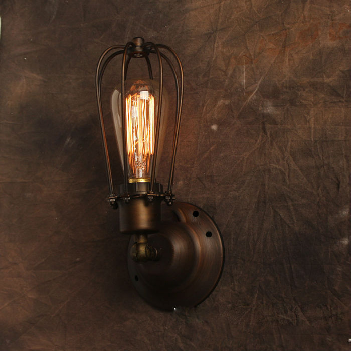 Wall Mounted Industrial Lamp : American Style Vintage Wall Lamp Industrial Edison Lamps Beside Mounted Cage Art Deco RH Loft ...