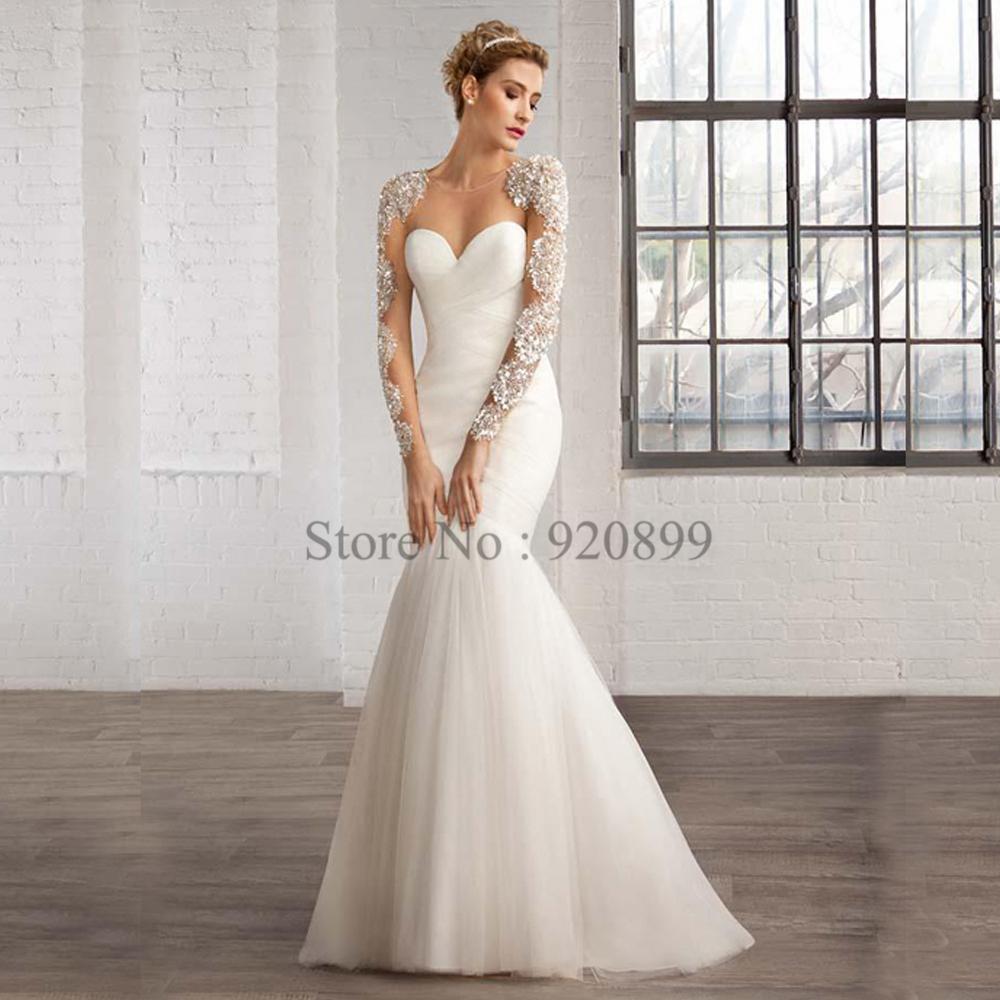 Christmas bling sequin beads mermaid wedding dress tulle for Long sleeve sequin wedding dress
