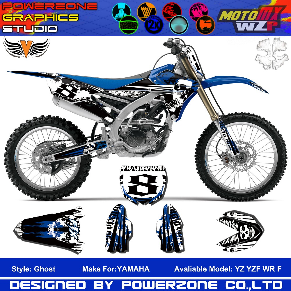 Custom Team Graphics Backgrounds Decals 3M Customized Kit Ghost YZ F WR F 1996 to 2016 Motorcylce Dirt Bike MX Racing Parts(China (Mainland))