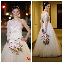 Real Sample One Shoulder Long Sleeve Ball Gown Wedding Dresses with Beaded Sash Lace Applique Bridal Gown Vestido De Casamento(China (Mainland))