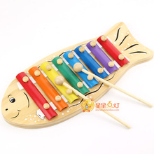 Free Shipping!Baby Wooden Toy Musical Instrument Cartoon Fish Hand Knocking Piano Knocks Xylophone (China (Mainland))