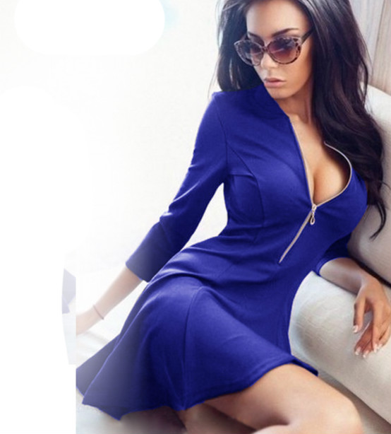 2016 new women dress long sleeve dress solid pleated club sexy ladies dresses Evening Party Bodycon Mini Skater Dress(China (Mainland))
