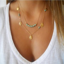 New Fashion Simple Collar 18K Gold Multilayer Chains Pearl Turquoise Bead Sequins Punk Necklaces&Pendants For Women Jewelry A351
