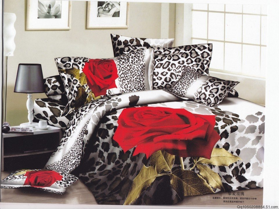 New hot Beautiful 100% Cotton 4pc Doona Duvet QUILT Cover Set bedding set Full / Queen/ King size 4pcs leopard & Red rose(China (Mainland))