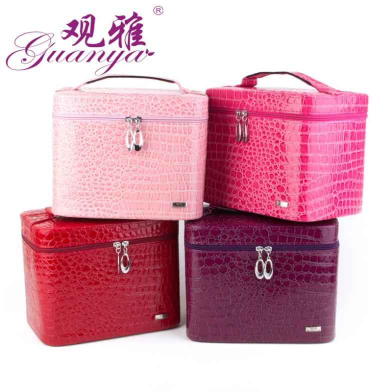 Luxury Pu Leather Crocodile Grain Jewelry Box Makeup Box Fashion Jewellery Storage Box Packaging
