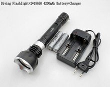 2000LM CREE XM-L L2 LED T6 LED Waterproof Diving Flashlight+2*18650 4200mAh Battery+Charger(China (Mainland))
