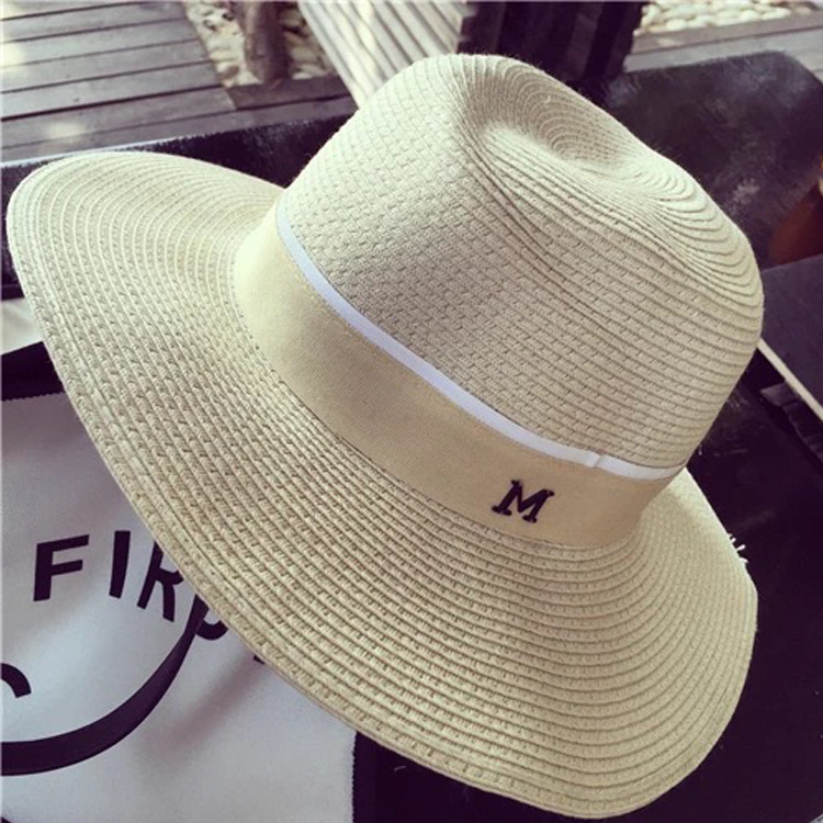 2015 Super star with brand new summer texture Panama hat with female models M brand cap hat m uv sun visor hat(China (Mainland))