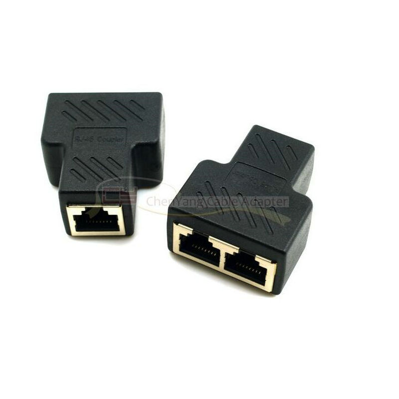 5pcs Cat6 RJ45 8P8C Plug To Dual RJ45 Splitter Network Ethernet Patch Cord Adapter With Shield(China (Mainland))