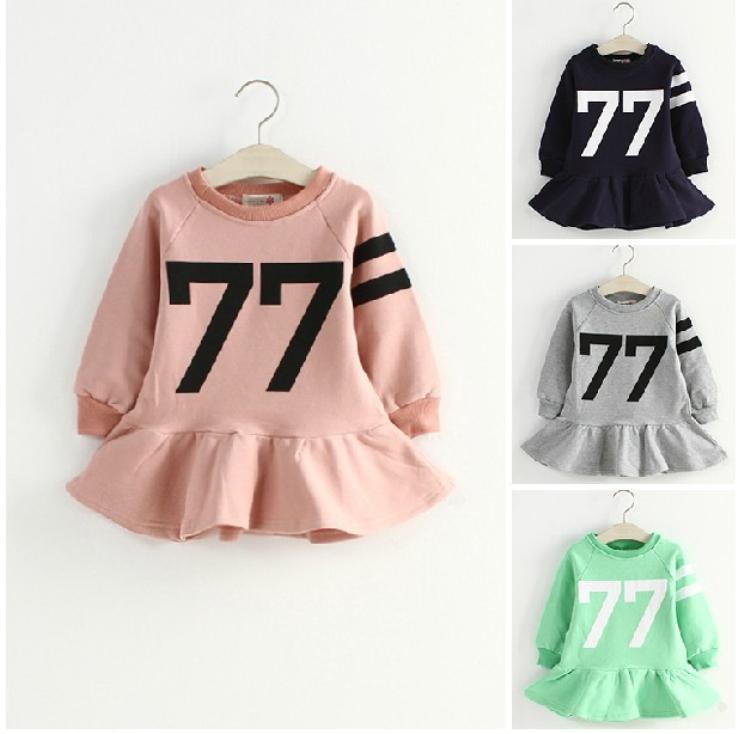 Kids Hitz 2014 Korean baby girls, children 77 words Uptown Girl dress long sleeve lotus leaf - The only love of store
