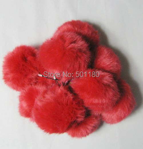 Free shipping red color fake fur ball for phones synthetic fur ball(China (Mainland))