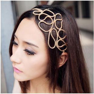 high quality lady women's Gold Elastic Hair Rope Weave Headbands Hair ornament fashion Hair Accessories