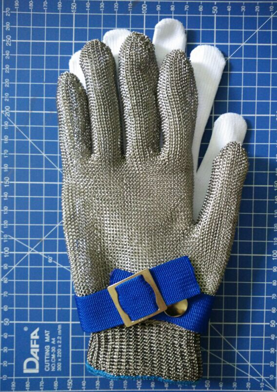 Safety Cut Proof Protect Glove 100% Stainless Steel Metal Mesh Butcher Gloves metal glove(China (Mainland))