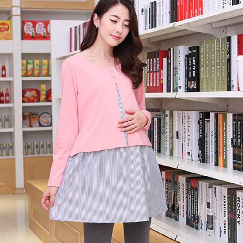 Maternity clothing autumn long-sleeve faux two piece maternity spring and autumn one-piece dress cotton medium-long 100% top<br><br>Aliexpress