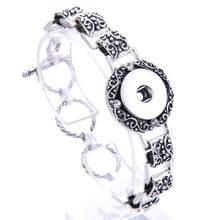 מתכוונן מצליפה תכשיטי מתכת הצמד צמיד צמיד ריינסטון כסף צמיד Fit 18mm 20mm הצמד כפתור תכשיטי עבור נשים(China)