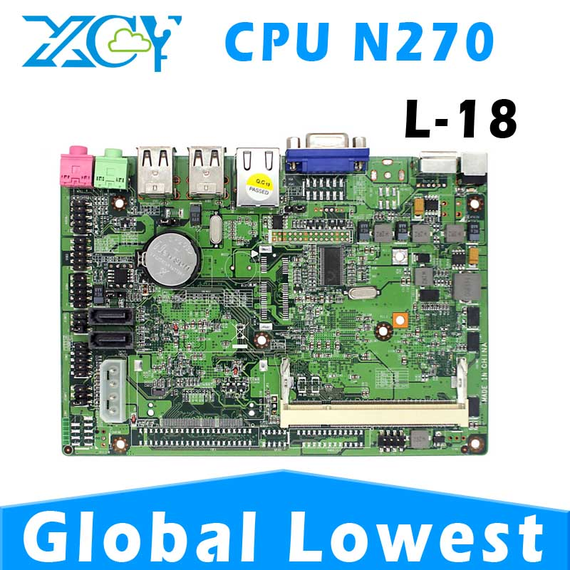 Low power low heat XCY L-18 Intel embedded motherboard, atom N270 mainboard desktop, itx motherboard with cpu(China (Mainland))