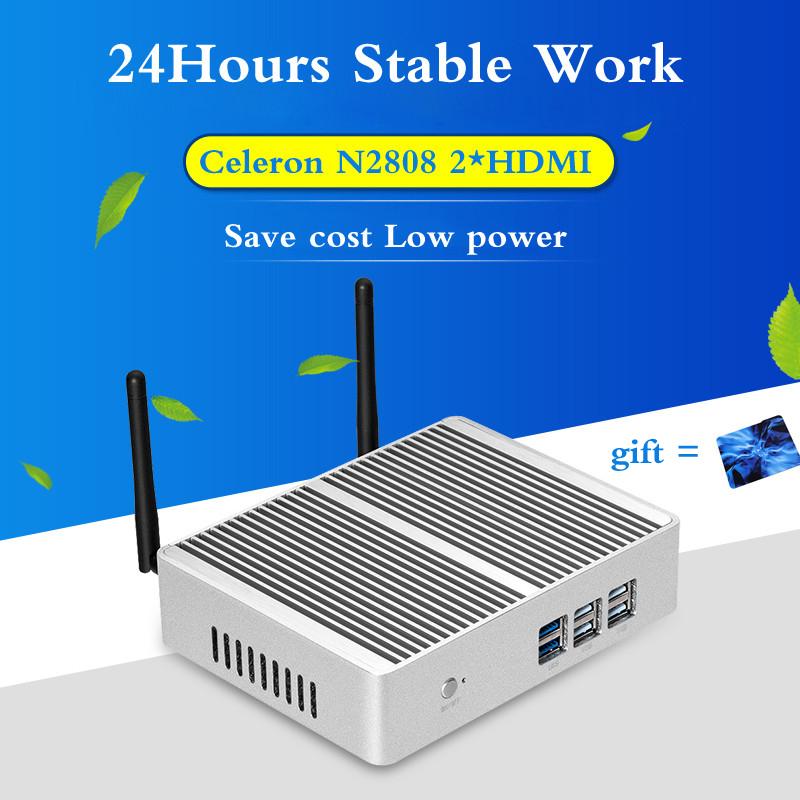 Cheapest Fanless pc Mini PC Celeron N2808 Dual HDMI USB wifi windows10 Industrial PC Support windows 7/8.1/Linux Mini PC(China (Mainland))