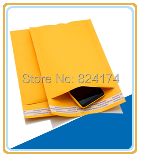 100PCS 9cmx13+4cm Good quality/Yellow Color Kraft Paper Air Bubble Bag/Mailers Envelope wthout printing(China (Mainland))