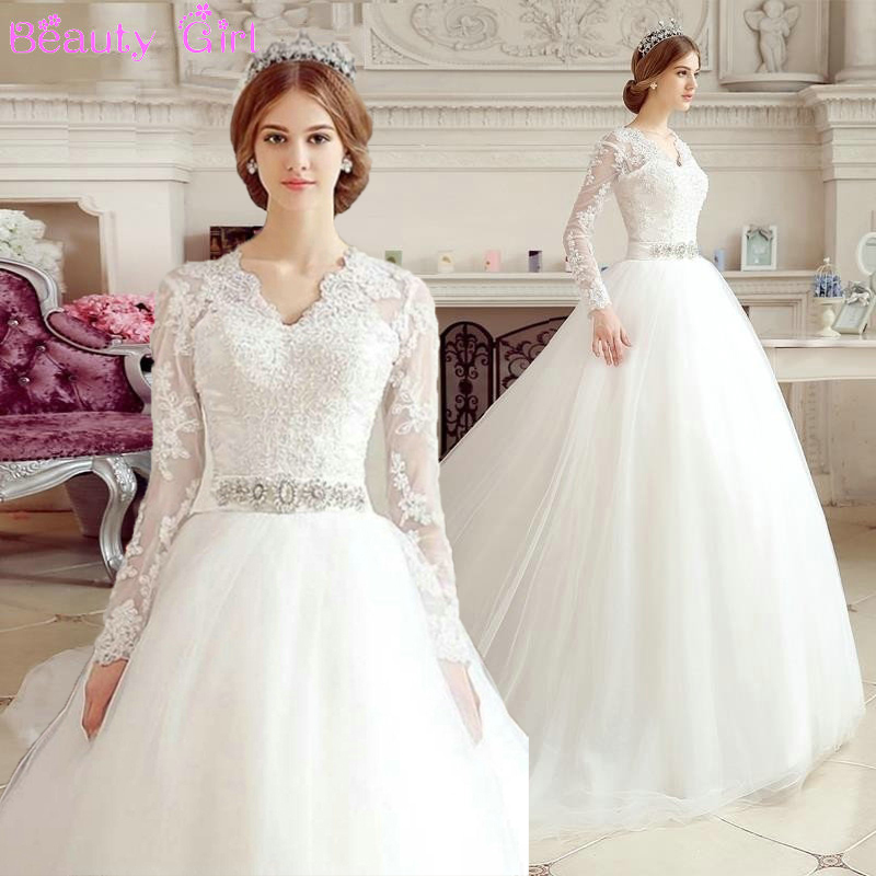 Elegant lace up ball gown wedding dress 2015 v neck long for Long sleeve lace v neck wedding dress