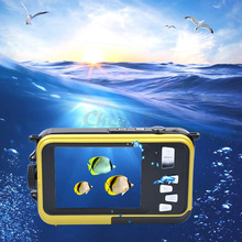 24MP Double Screens Waterproof Digital Camera,2.7 inch +1.8 inch Screens HD 1080P CMOS 16x Zoom Camcorder mini Camera DVR50_3463(China (Mainland))