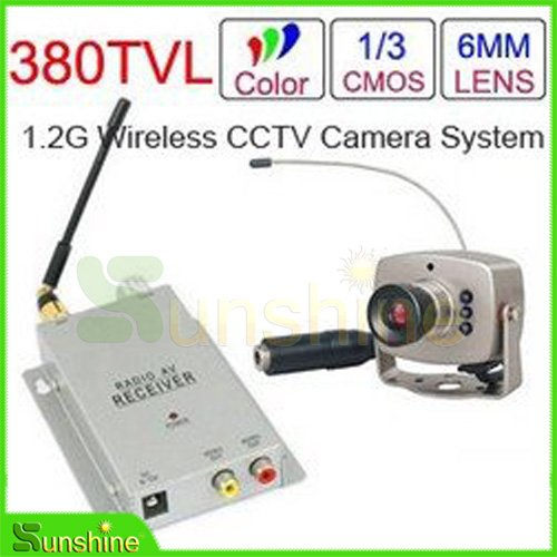 1.2 GHz Wireless Receiver & Wireless Color 6LED IR Nightvision Mini Camera Wireless CCTV Camera Kit(China (Mainland))