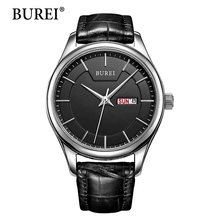 Burei Women Watch Top Fashion Brand Female Clock Gold Case Calendar Display Real Leather Strap Waterproof Writwatches Hot Sale(China (Mainland))