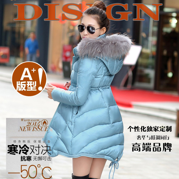 Winter maternity clothing raccoon fur down coat medium-long female loose cloak A - shaped type white duck down wearout for women(China (Mainland))