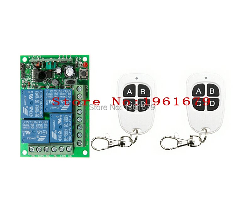 DC 12V 10A 4 channel RF Wireless Remote Control system 1 Receiver 2 Transmitter Classic black-white remote control(China (Mainland))