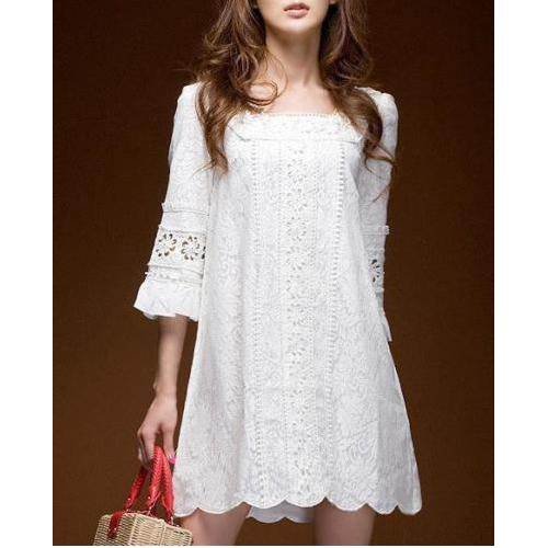 New Fashion Womens Clothing Short Sleeve Sexy Party ClubWear Square Neck Crochet Lace White Mini Dress Size S 0114(China (Mainland))