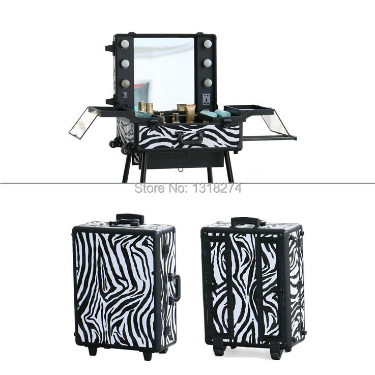 Aluminum makeup studio with lights, Lighting cosmetic/makekup trolley train case with stand(China (Mainland))