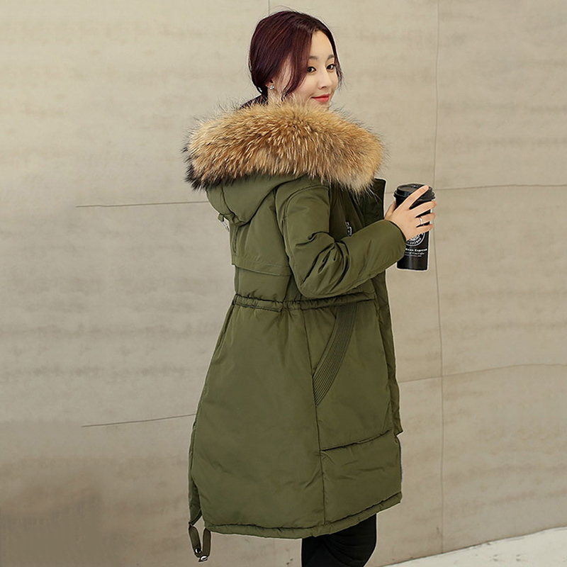 2016 New Arrival Winter Real Fur Collar Coat Women Parkas Solid Winter Green Outer Slim Long Sleeve Cotton Warm Coats Jacket(China (Mainland))