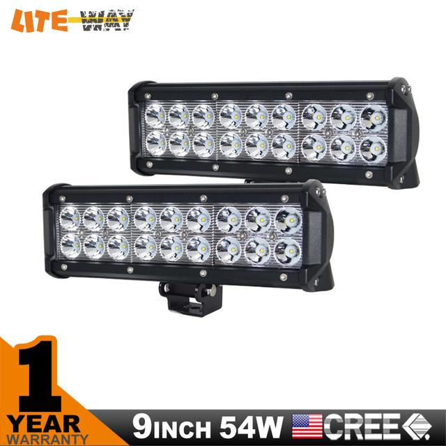 2PCS 9INCH 54W CREE LED LIGHT BAR  SPOT FLOOD FOR OFF ROAD LED BAR IP67 4WD ATV UTV SUV LED WORK LIGHT BAR