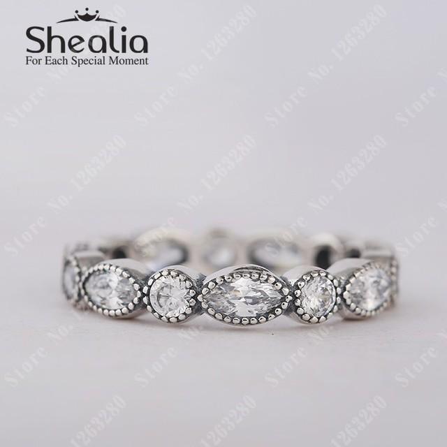 Очаровательные бриллиант маркиза серебро кольца с круг и овальная прозрачный CZ помолвка кольцо 925 чистое серебро Shealia ювелирные изделия