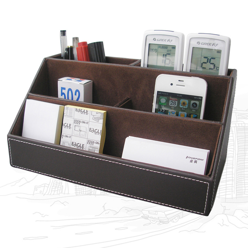 Home Office Leather Desk Stationery Organizer Pen Pencil Box Case Remote Control Holder Container Brown A025(China (Mainland))