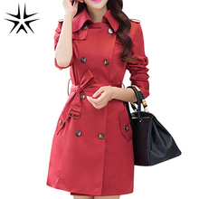 Autumn & Spring Women Fashion Slim Coats Plus Size L-4XL Korean Style Adjustable Waist Double Breasted Design Lady Long Trench(China (Mainland))