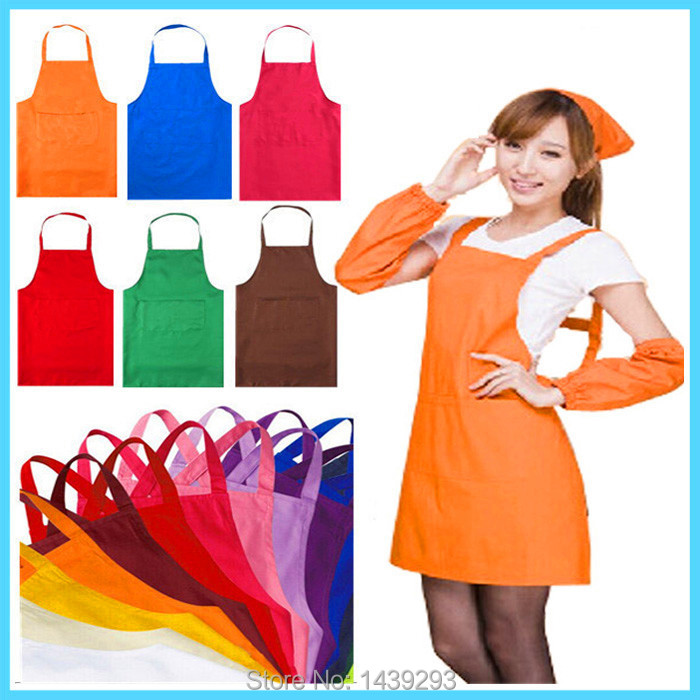 Fashion Unisex Apron for Restaurant Chefs Home Kitchen Cleaning Work Aprons With Front Pocket for Women Men Waiter Bibs 13 Color(China (Mainland))