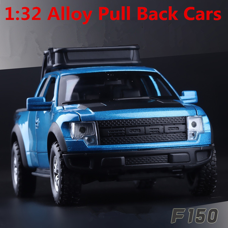 1:32 alloy pull back car model, high simulation model Ford F150 pickup, metal diecasts, flashing & musical, free shipping(China (Mainland))