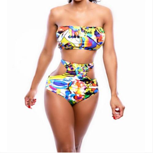 2015 High Waisted Swimwear Digital Print Galaxy Bikinis Set Cartoon Women's Sexy Triangl Bikini Push Up Swimsuit W1043(China (Mainland))