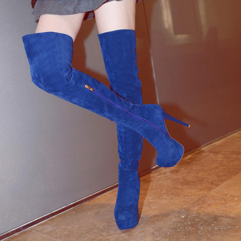 Sexy Suede sobre o joelho botas mulheres 2016 saltos botas de salto alto botas de plataforma Ruslana Korshunova