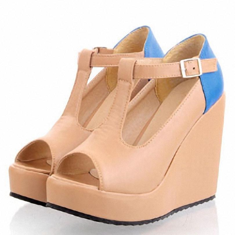 ENMAYER T-Strap Buckle open Peep Toe comfort Wedges Platform pumps Fashion sweet  women pumps Patchwork mixed colors shoes pumps