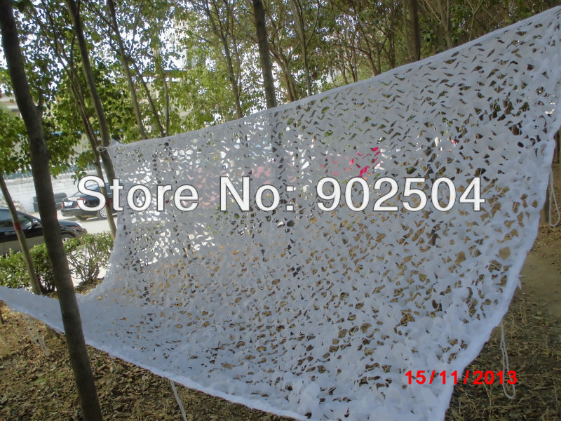 New 3*4M White Camouflage Net Car Drop netting Hunting Camping Military Camo Net for CS Housing Decoration(China (Mainland))