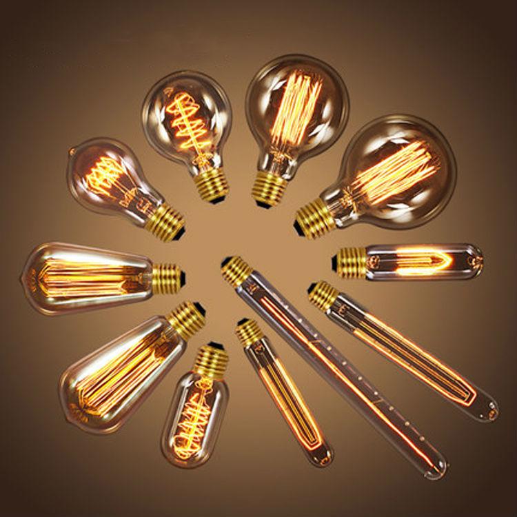 Antique Vintage Retro Edison Light Bulbs 220V/110V E27 40W Incandescent Light Bulbs G80 G95 A19 T10 T45 T185 T300 ST64(China (Mainland))