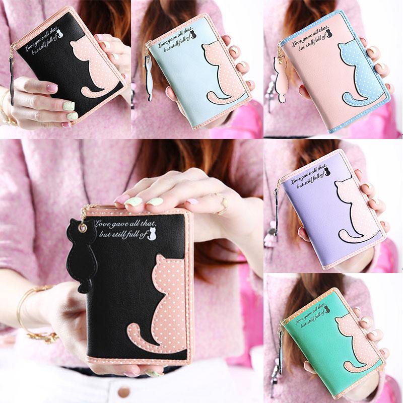 Cartoon Cat Style Purse Fashion Cute Women's Wallet Bifold PU Leather Coin Purse Womens Bag Clutch Hand Bag(China (Mainland))