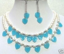 2 Row White Pearl Heart blue jasper Necklace earrings(China (Mainland))