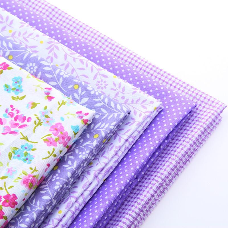 Cotton Fabric Fat Quaters Tilda Cloth Quilting Scrapbooking Patchwork Fabrics For Sewing 5pcs Mixed Purple Color 40x50CM(China (Mainland))