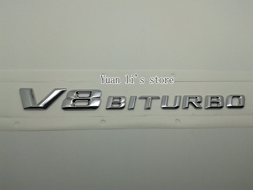 free shipping 10PCS Car Side Badge Emblem Sticker Tailgate V8 V 8 BI TURBO Chrome Badge(China (Mainland))