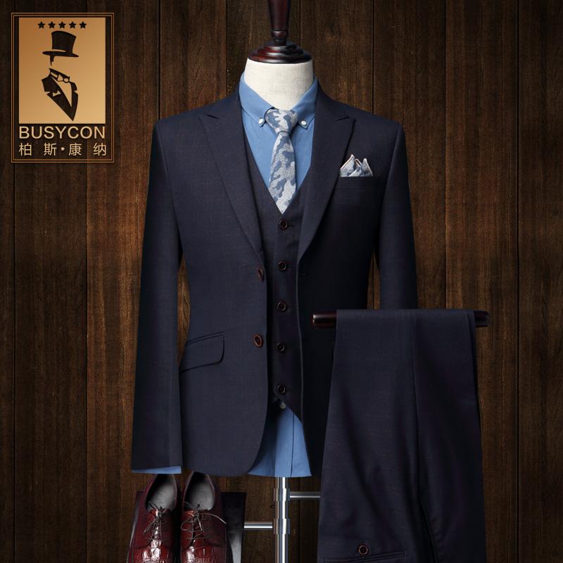 Three Piece Dark Purple Mens Plaid Suits Blazer Masculino Slim Fit Morning Suit Wedding Mens Formal Wear(China (Mainland))