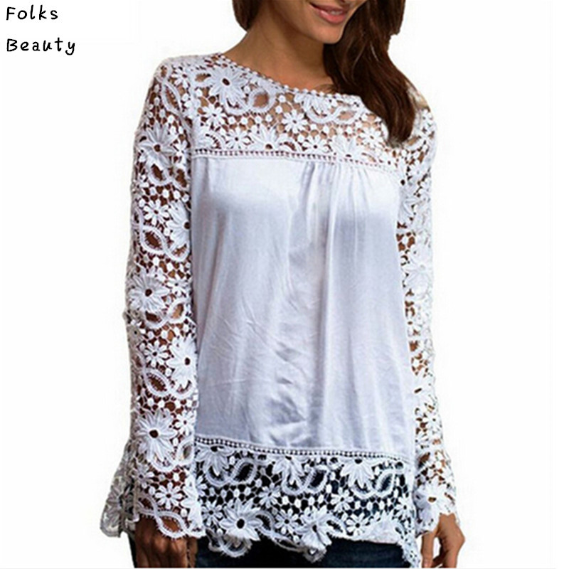 Women Chiffion Blouses Shirts Long Sleeve Tops Lace Blouses Hollow out Crochet Blusas Femininas 2015 Fashion Plus size(China (Mainland))