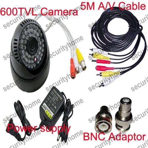 Free shipping!CMOS 600TVL 54IR Home Surveillance A/V CCTV Dome camera +5M cable +Power supply +BNC Adaptor(China (Mainland))