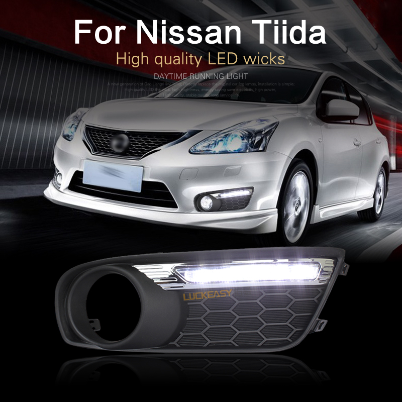 Фотография luckeasy drl for nissan tiida 2011-2013 Led Lights Car Lamps 2011 2012 running light