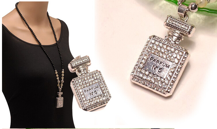 2015new fashion Long Bead sweater chain Elegant Perfume bottles Pendant Necklace For Woman 2015 hot sale for women jewelry(China (Mainland))